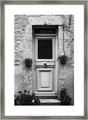 French Door In Mono Framed Print