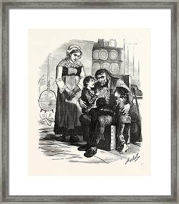 French Family In The Kitchen, France. Interior, Kitchen Framed Print by French School