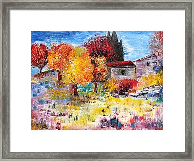 French Farm With Green Shutters Framed Print