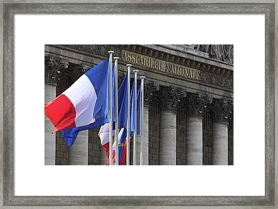 French Flags At The National Assembly Framed Print