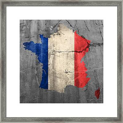 French France Flag Country Outline Painted On Old Cracked Cement Framed Print