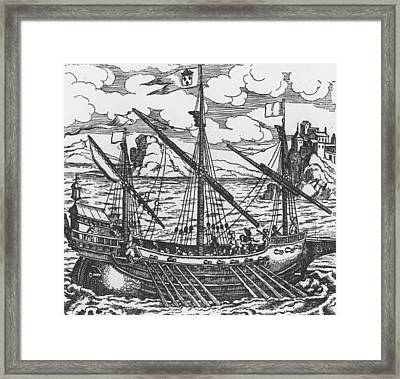 French Galley Operating In The Ports Of The Levant Since Louis Xi  Framed Print by French School
