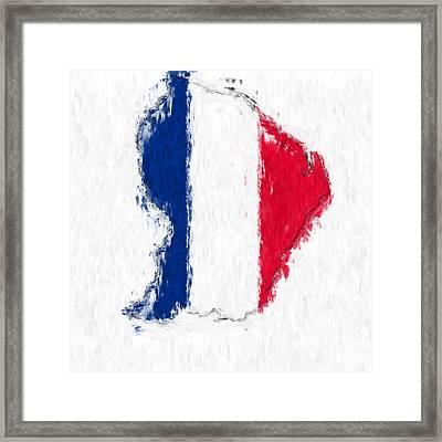 French Guiana Painted Flag Map Framed Print by Antony McAulay