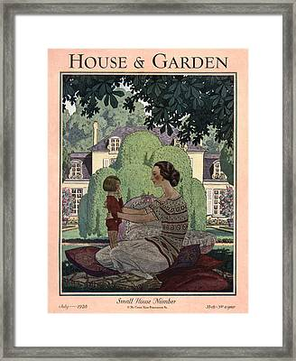 French Haute-bourgeois Domestic Scene Framed Print by Pierre Brissaud