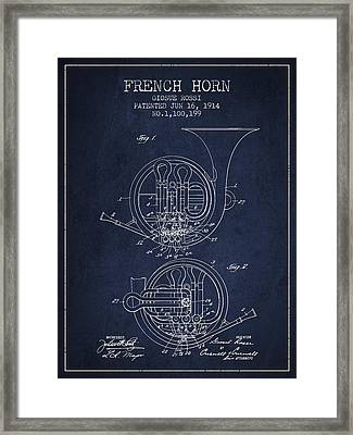 French Horn Patent From 1914 - Blue Framed Print