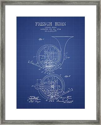 French Horn Patent From 1914 - Blueprint Framed Print