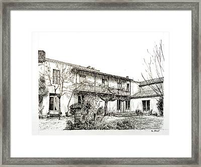 French House - Black Ink Framed Print by Nicolas Jolly