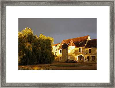 French House At Sunset Framed Print