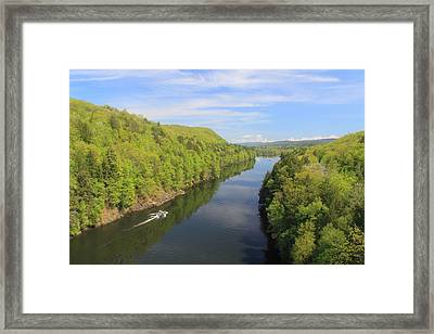 French King Gorge Connecticut River Spring Boater Framed Print by John Burk