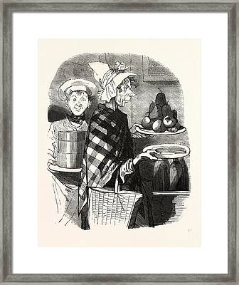 French Lady And A Cook Bring The Desserts Framed Print