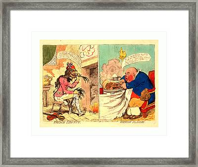 French Liberty  British Slavery, Gillray Framed Print by English School