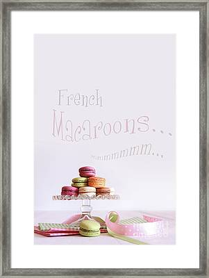 French Macaroons On Dessert Tray Framed Print by Sandra Cunningham