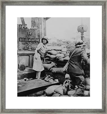 French Man And Woman Fight With Arms Framed Print