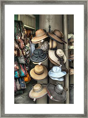 French Market Hats For Sale Framed Print by Brenda Bryant
