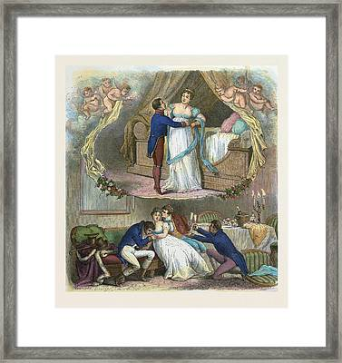 French Part, Man, Woman, Food And Drink, Glasses, Glass Framed Print by English School
