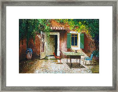 French Patio, 2006 Oil On Board Framed Print