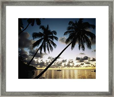 French Polynesia, View Of Moorea Bay Framed Print by Douglas Peebles