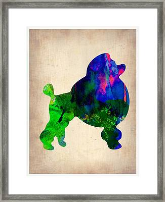 French Poodle Watercolor Framed Print by Naxart Studio