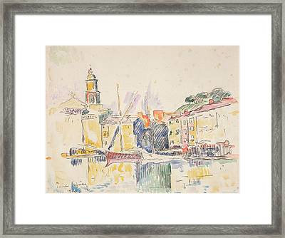 French Port Of St. Tropez, 1914 Framed Print by Paul Signac