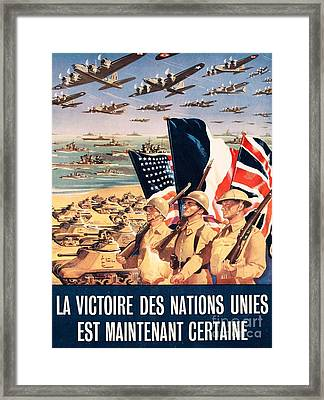French Propaganda Poster Published In Algeria From World War II 1943 Framed Print by Anonymous