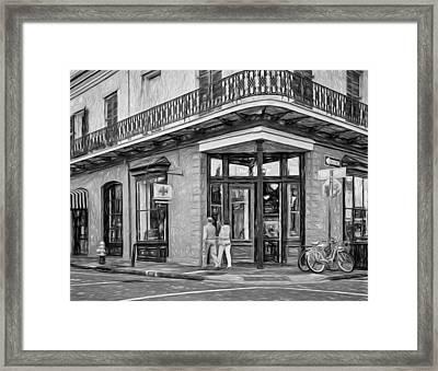 French Quarter Art - Paint Bw Framed Print by Steve Harrington
