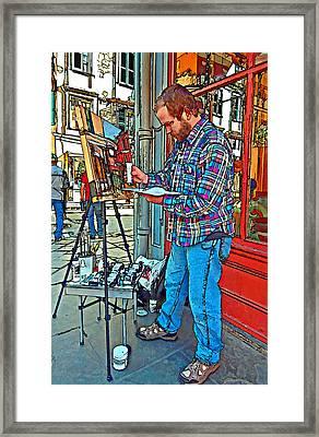 French Quarter Artist Painted Framed Print by Steve Harrington