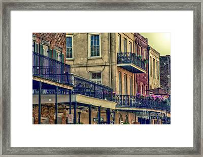 French Quarter Balconies And Bubbles Framed Print by Kathleen K Parker