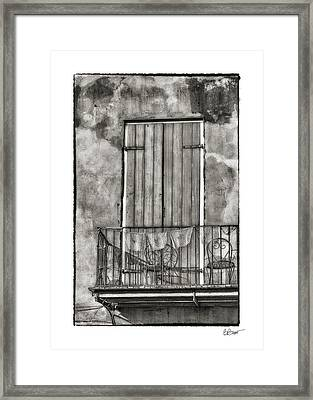 French Quarter Balcony In Black And White Framed Print
