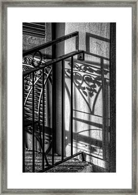 French Quarter Balcony Shadow Framed Print by Greg and Chrystal Mimbs