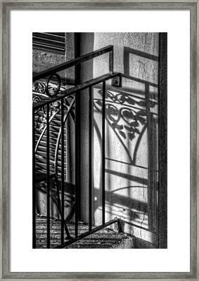 French Quarter Balcony Shadow Framed Print