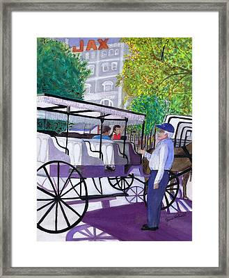 Framed Print featuring the painting French Quarter Buggy Tour by June Holwell