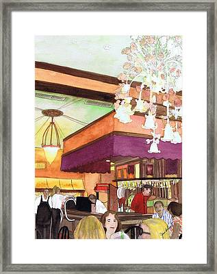 Framed Print featuring the painting French Quarter Dining-coffee Pot Restaurant by June Holwell