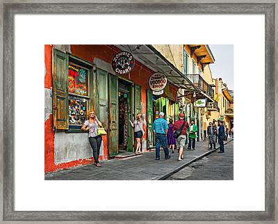 French Quarter - People Watching  Oil Framed Print