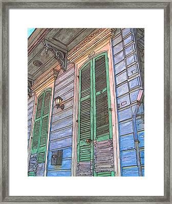 French Quarter Shutters 368 Framed Print by John Boles