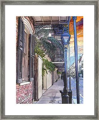 French Quarter Sidewalk 443 Framed Print by John Boles