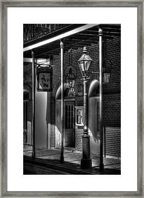 French Quarter Street Lamp In Black And White Framed Print