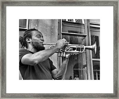 French Quarter Street Musician Framed Print by Mike Barch