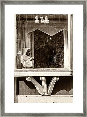 French Quarter Window Display Sepia Framed Print