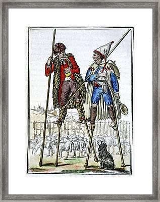 French Shepherds On Stilts Framed Print by Cci Archives