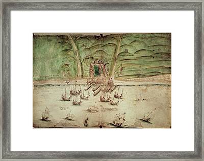 French Ships Attacking Brighton Framed Print by British Library
