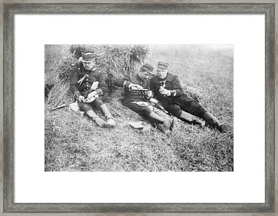 French Soldiers At Lunch Framed Print