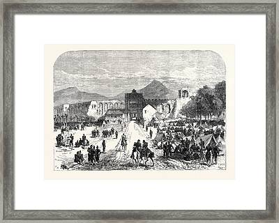 French Troops Encamped Inside The Lateran Gate At Rome Framed Print