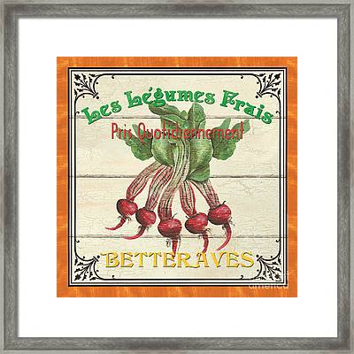 French Vegetable Sign 4 Framed Print by Debbie DeWitt