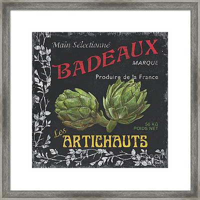 French Veggie Labels 1 Framed Print by Debbie DeWitt