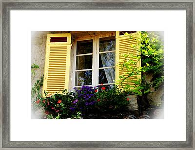 Framed Print featuring the photograph French Window Dressing by Jacqueline M Lewis