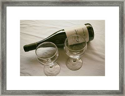 French Wine And Glasses Framed Print by Georgia Fowler
