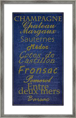 French Wines - 2 Champagne And Bordeaux Region Framed Print