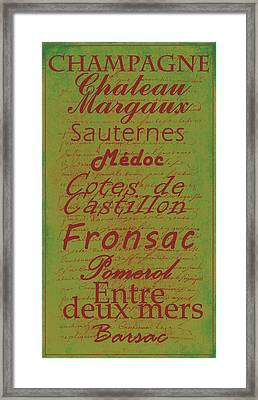 French Wines - 4 Champagne And Bordeaux Region Framed Print