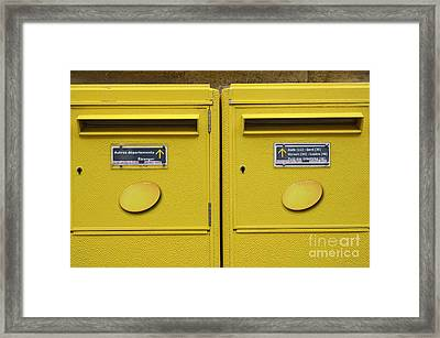 French Yellow Mailboxes Framed Print by Sami Sarkis