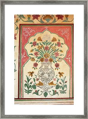Fresco, Amber Fort, Jaipur, Rajasthan Framed Print by Inger Hogstrom